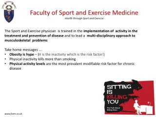 Faculty of Sport and Exercise Medicine Health through Sport and Exercise