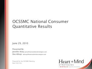 OCSSMC National Consumer Quantitative  Results