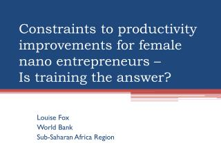 Constraints to productivity improvements for female  nano  entrepreneurs – Is training the answer?