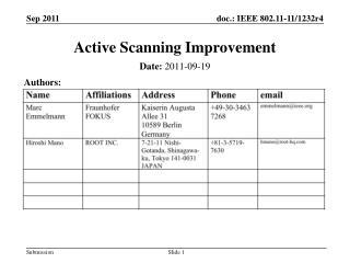 Active Scanning Improvement