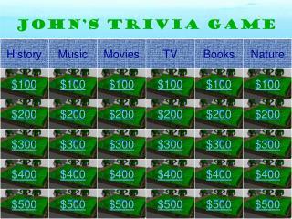 JOHN'S Trivia Game