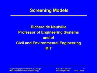 Screening Models