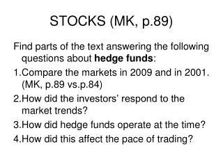 STOCKS (MK, p.89)