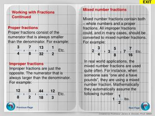 Working with Fractions Continued