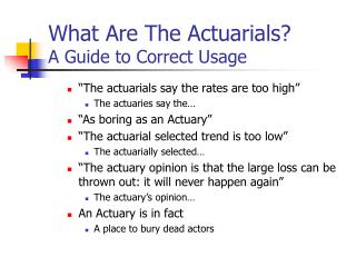What Are The Actuarials? A Guide to Correct Usage