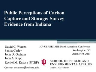 Public Perceptions of Carbon Capture and Storage: Survey Evidence from Indiana