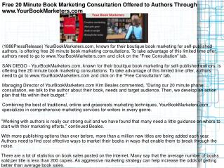 Free 20 Minute Book Marketing Consultation Offered to Author