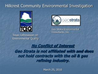 Hillcrest Community Environmental Investigation