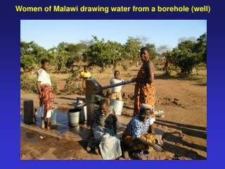 Women of Malawi drawing water from a borehole (well)