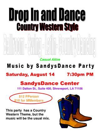 Saturday, August 14        7:30pm PM SandysDance Center