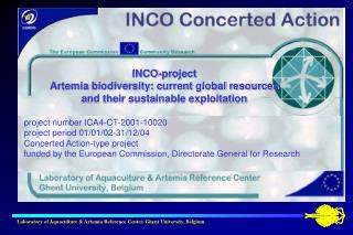 INCO-project Artemia biodiversity: current global resources  and their sustainable exploitation