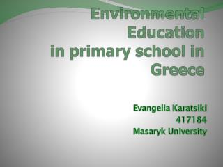 Environmental Education in primary school in Greece