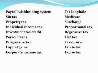 Payroll withholding system		Tax loophole Sin tax					 M edicare Property tax				Surcharge