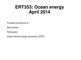 ERT353: Ocean energy April 2014