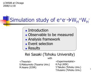 Simulation study of e + e - W H + W H -