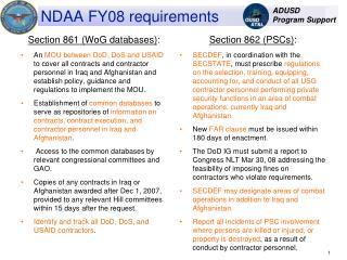 NDAA FY08 requirements