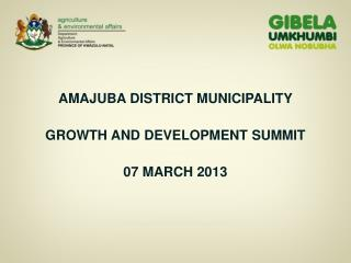 AMAJUBA DISTRICT MUNICIPALITY GROWTH AND DEVELOPMENT SUMMIT 07 MARCH 2013