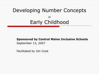 Developing Number Concepts  in  Early Childhood