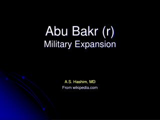 Abu Bakr (r) Military Expansion