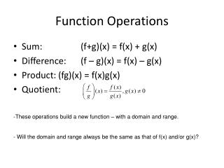 Function Operations