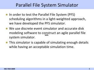 Parallel File System Simulator