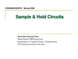 Sample & Hold Circuits