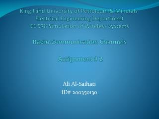 Ali Al- Saihati ID# 200350130