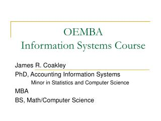 OEMBA Information Systems Course