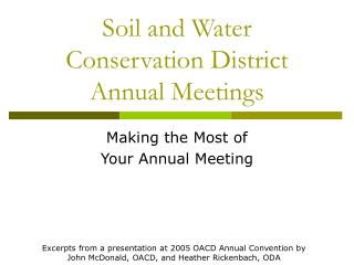 Soil and Water Conservation District Annual Meetings