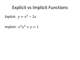 Explicit  vs  Implicit Functions