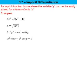 3.7 – Implicit Differentiation