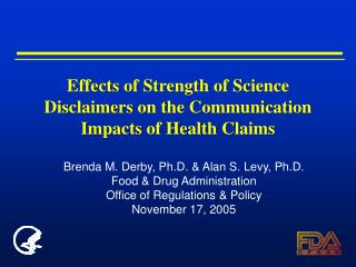 Effects of Strength of Science Disclaimers on the Communication Impacts of Health Claims