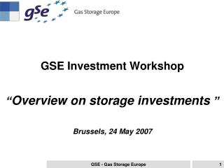 "GSE Investment Workshop "" Overview on storage investments "" Brussels, 24 May 2007"