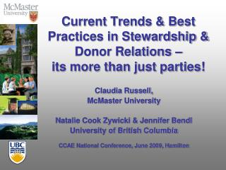 Current Trends  Best Practices in Stewardship  Donor Relations    its more than just parties