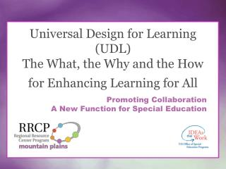 Universal Design for Learning (UDL) The What, the Why and the How for Enhancing Learning for All