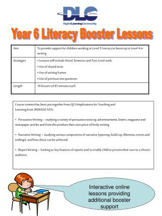 Interactive online lessons providing additional booster support