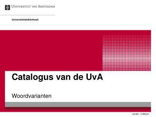 Catalogus van de UvA