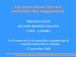 Les associations face aux évolutions des engagements