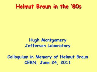 Helmut Braun in the �80s