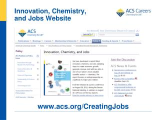 Innovation, Chemistry,  and Jobs Website