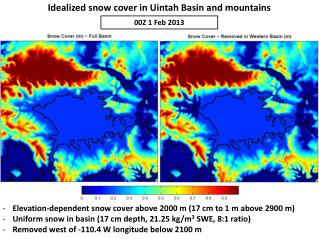 Idealized snow cover in Uintah Basin and mountains