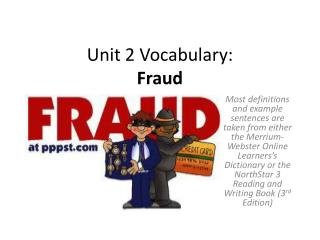 Unit 2 Vocabulary:  Fraud
