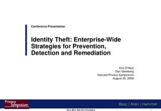 Kris O'Neal Dan Steinberg Harvard Privacy Symposium August 20, 2008