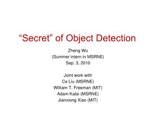 """Secret"" of Object Detection"