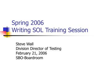 Spring 2006  Writing SOL Training Session