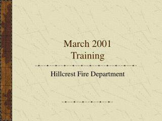 March 2001 Training