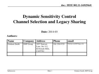 Dynamic Sensitivity Control  Channel Selection a nd Legacy Sharing