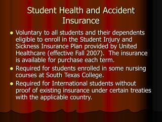 Student Health and Accident Insurance