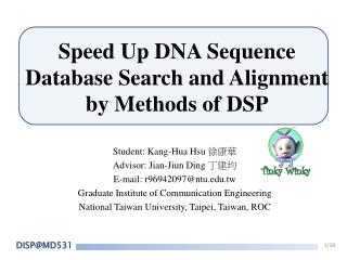 Speed Up DNA Sequence Database Search and Alignment by Methods of DSP