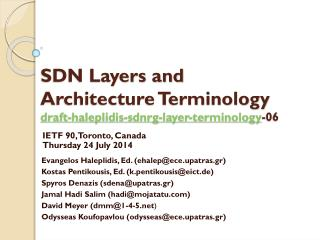 SDN Layers and Architecture Terminology draft-haleplidis-sdnrg-layer-terminology -06